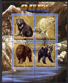Benin 2007 Bears perf sheetlet containing 4 values fine cto used