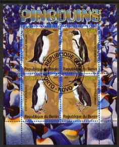 Benin 2007 Penguins perf sheetlet containing 4 values fine cto used