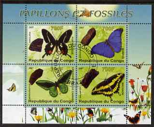 Congo 2007 Butterflies & Fossils #3 perf sheetlet containing 4 values fine cto used