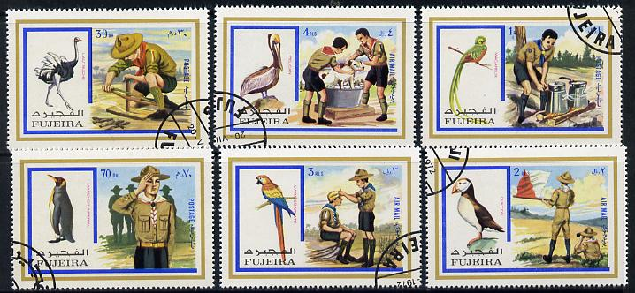 Fujeira 1972 Scouts & Birds set of 6 cto used, Mi 1012-17