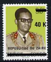 Zaire 1977 Surcharged 40k on 9.6k unmounted mint, SG 902