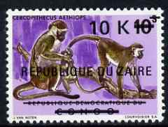 Zaire 1977 Surcharged 10k on 10s Monkeys unmounted mint, SG 897
