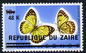 Zaire 1977 Surcharged 48k on 10s Butterflies unmounted mint, SG 903