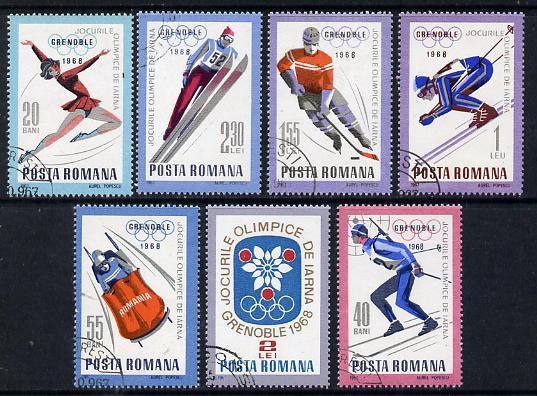 Rumania 1967 Grenoble Winter Olympics set of 7 cto used, Mi 2620-26, SG 3495-3501