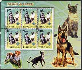 North Korea 2006 Dogs & Cats large perf sheetlet #1 containing  6 values each with Scout Logo fine cto used