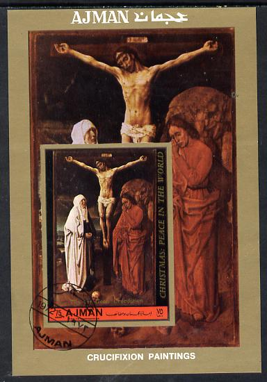 Ajman 1972 Crucifixion (Painting by Van der Goes) perf m/sheet cto used