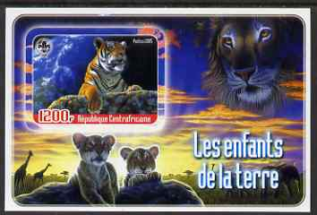 Central African Republic 2005 Young Animals of the World #4 (Big Cats) imperf souvenir sheet containing 1 value with Scout logo, unmounted mint