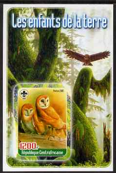 Central African Republic 2005 Young Animals of the World #5 (Owls) imperf souvenir sheet containing 1 value with Scout logo, unmounted mint