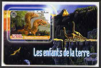 Central African Republic 2005 Young Animals of the World #7 (Dinosaurs) imperf souvenir sheet containing 1 value with Scout logo, unmounted mint