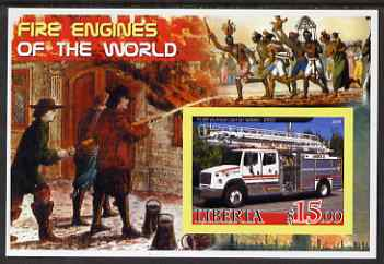 Liberia 2005 Fire Engines of the World #01 imperf s/sheet unmounted mint