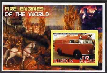 Liberia 2005 Fire Engines of the World #02 imperf s/sheet unmounted mint