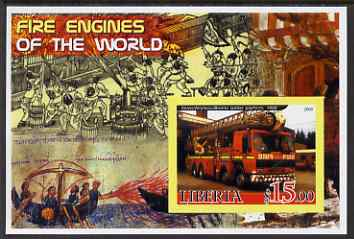Liberia 2005 Fire Engines of the World #05 imperf s/sheet unmounted mint