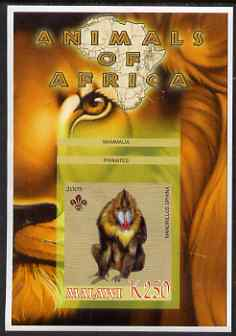 Malawi 2005 Animals of Africa - Mandrill imperf m/sheet with Scout Logo, unmounted mint