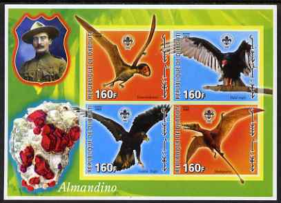 Djibouti 2005 Pre-historic Life #1 (Birds & Minerals) imperf sheetlet containing 4 values each with Scout Logo, unmounted mint, stamps on dinosaurs, stamps on birds, stamps on scouts, stamps on mineral