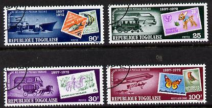 Togo 1973 Postal Service (Stamp on Stamp with Transport) set of 4 cto used, SG 961-64