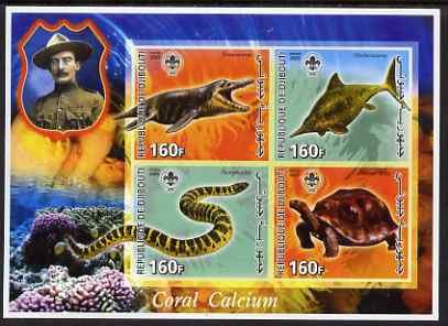 Djibouti 2005 Pre-historic Life #2 (Tortoise, Snake, Fish & Coral) imperf sheetlet containing 4 values each with Scout Logo, unmounted mint