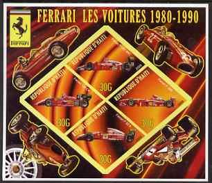 Haiti 2006 Ferrari Cars 1980-1990 imperf sheetlet containing 4 diamond shaped values unmounted mint