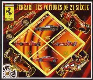 Haiti 2006 Ferrari Cars 21st Century imperf sheetlet containing 4 diamond shaped values unmounted mint