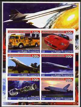 Djibouti 2006 Concorde, Space, Ferrari & Fire Trucks imperf sheetlet containing 6 values unmounted mint
