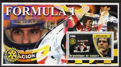 Guinea - Conakry 2003 Formula 1 perf s/sheet #5 containing 1 value (Ayrton Senna) with Rotary logo unmounted mint