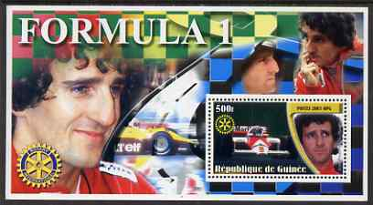 Guinea - Conakry 2003 Formula 1 perf s/sheet #6 containing 1 value (Alain Prost) with Rotary logo unmounted mint