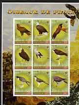 Gabon 2006 Birds of Prey imperf sheetlet containing 9 values unmounted mint