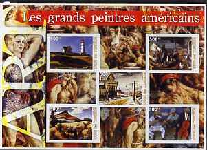 Comoro Islands 2005 Paintings (Great Americans) large imperf sheetlet containing 5 values unmounted mint