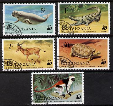 Tanzania 1977 WWF Endangered Species set of 5 fine cds used, SG 212-16*