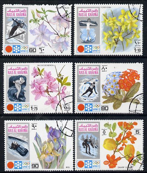 Ras Al Khaima 1972 Winter Olympics (Flowers) perf set of 6 cto used (Mi 607-12A)
