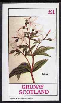 Grunay 1983 Flowers #16 (Spirea) imperf souvenir sheet (�1 value) unmounted mint