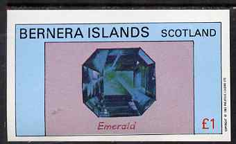 Bernera 1983 Precious Stones (Emerald) imperf souvenir sheet (�1 value) unmounted mint
