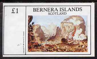 Bernera 1981 Paintings of Battles imperf souvenir sheet (�1 value) unmounted mint