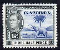Gambia 1938-46 KG6 Elephant & Palm 1.5d blue & black unmounted mint, SG 152c
