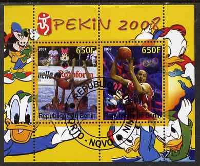 Benin 2007 Beijing Olympic Games #13 - Synch Swimming & Basketball perf s/sheet containing 2 values (Disney characters in background) fine cto used
