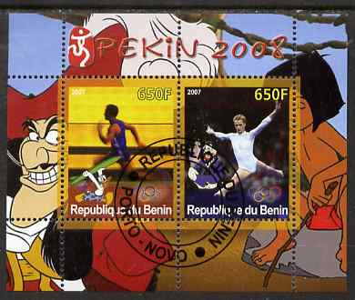 Benin 2007 Beijing Olympic Games #14 - Running & Gymnastics perf s/sheet containing 2 values (Disney characters in background) fine cto used
