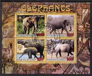 Djibouti 2007 Elephants perf sheetlet containing 4 values fine cto used