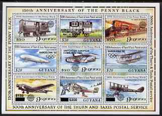 Guyana 1992 Anniversaries opt in black on sheetlet of 9 (150th Anniversary of Penny Black and Thurn & Taxis Postal Anniversary - Mail Planes & Trains) unmounted mint