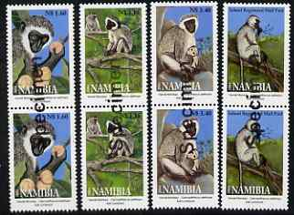 Namibia 2004 Vervet Monkeys perf set of 4 in pairs overprinted SPECIMEN (opt goes across 2 stamps) unmounted mint, as SG 954-57