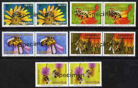 Namibia 2004 Honey Bees perf set of 5 in pairs overprinted SPECIMEN (opt goes across 2 stamps) unmounted mint, as SG 959-63