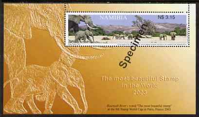 Namibia 2003 Stamp Design Award Winner perf m/sheet (Elephants) overprinted SPECIMEN, unmounted mint as SG MS953