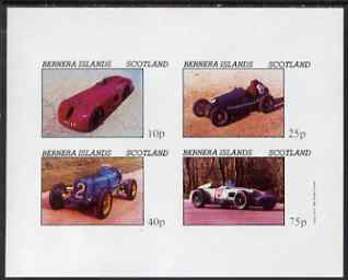 Bernera 1981 Early Racing Cars imperf set of 4 values (imprint in right margin) unmounted mint