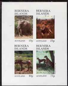 Bernera 1981 Animals (Elephant, Lion, Zebra) imperf set of 4 values (imprint within main stamp design) unmounted mint
