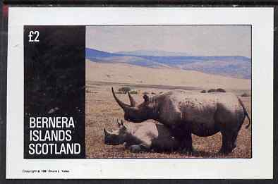Bernera 1981 Rhino imperf deluxe sheet (�2 value) unmounted mint