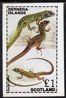 Bernera 1981 Green Lizard imperf souvenir sheet (�1 value) unmounted mint