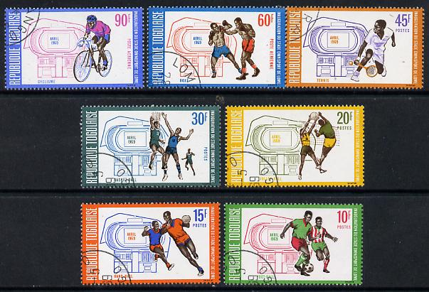 Togo 1969 Sports Stadium set of 7 cto used (Cycling, Football, Volleyball, Tennis, Boxing) SG 636-42