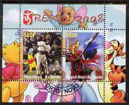 Benin 2007 Beijing Olympic Games #16 - Baseball (4) perf s/sheet containing 2 values (Bonds & Linares with Disney characters in background) fine cto used