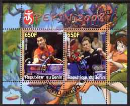 Benin 2007 Beijing Olympic Games #17 - Table Tennis perf s/sheet containing 2 values (Wang Liqin &Waldner with Disney characters in background) fine cto used