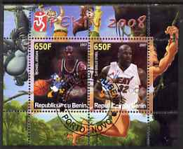 Benin 2007 Beijing Olympic Games #20 - Basketball perf s/sheet containing 2 values (Jordan & O'neil with Disney characters in background) fine cto used