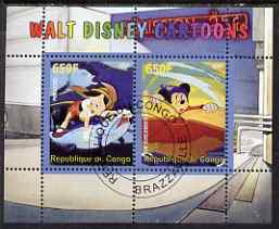 Congo 2007 Walt Disney Cartoons perf s/sheet #04 containing 2 values fine cto used