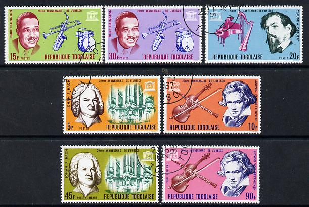 Togo 1967 UNESCO (Musical Instruments & Musicians) set of 7 cto used, SG 517-23